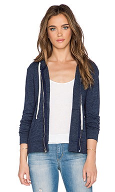 SUNDRY Zip Hoodie in Deep Sea