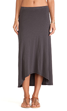 SUNDRY Mid Length Skirt in Old Black
