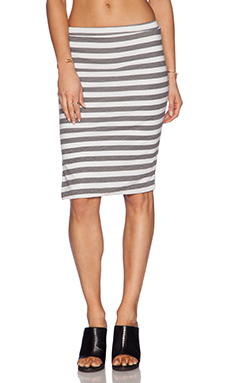 SUNDRY Thick Stripe Mini Skirt in Oyster
