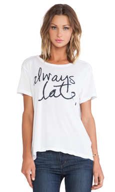SUNDRY Always Late Loose Crew Neck in White