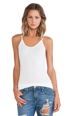 SUNDRY Layer V Neck Ribbed Tank in White