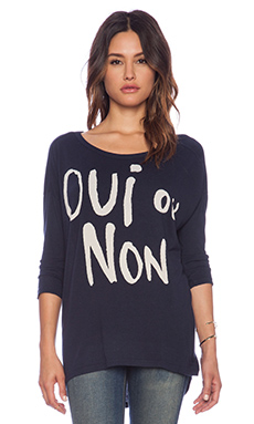 SUNDRY Oui Ou Non 3/4 Sleeve Tunic in Navy