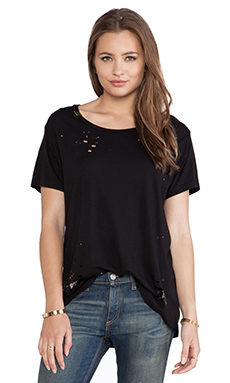 SUNDRY Destroyed Loose Tee in Black