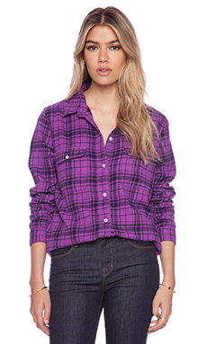 SUNDRY Plaid Basic Shirt in Magenta