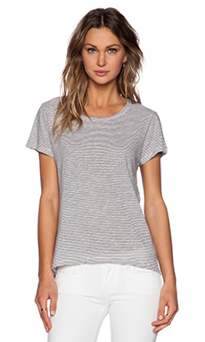 SUNDRY Thin Stripe Loose Tee in Oyster