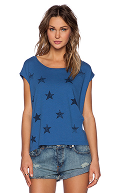 SUNDRY Stars New Square Tee in Ocean
