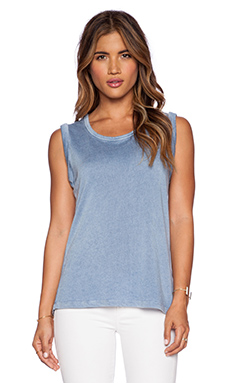SUNDRY Sleeveless Tank in Chambray