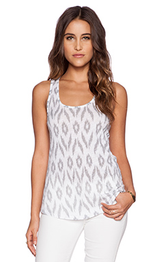 SUNDRY Ikat Tank Top in White
