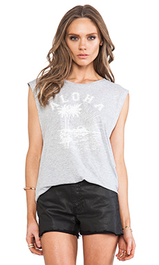 SUNDRY Aloha Muscle Tee in Heather Grey