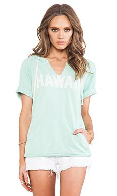 SUNDRY Hawaii Short Sleeve Hoodie in Dark Mint