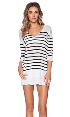 Seafolly Sun Downer Hoodie in Black & White