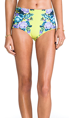 Seafolly Bella Rose High Waisted Vintage Bottom in Chartreuse