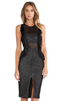 self-portrait Fringed Formation Dress in Black