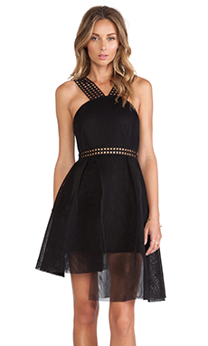 self-portrait Tiered Hem Dress in Black