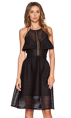 self-portrait Cropped Overlay Dress in Black