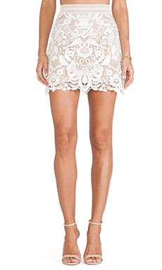 self-portrait Guipure Lace Skirt in White