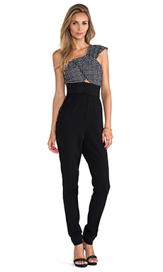 self-portrait One Shoulder Jumpsuit in Black