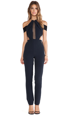self-portrait Chained-Up Jumpsuit in Black