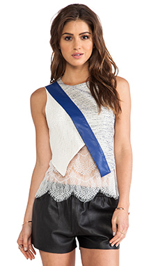 self-portrait Asymmetrical Layered Top in White