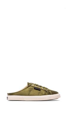 The Man Repeller x Superga Satin Sneaker in Olive Green