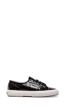 Superga Patent Croc Sneaker in Black