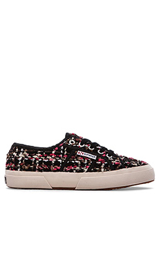Superga Boucle Sneaker in Black & Fuxia & White