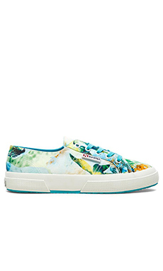 Superga Slip On Sneaker in Tropical Azul Green