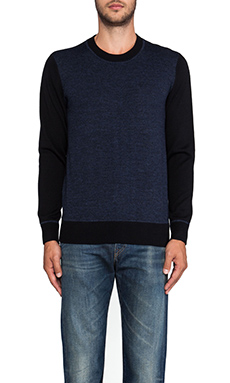 7 For All Mankind Blocked Sweater in Black & Dark Navy