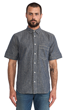 7 For All Mankind Chambray Button Up in Navy