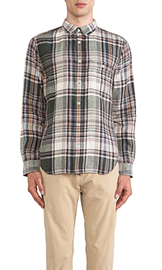 7 For All Mankind Linen Plaid Shirt in Twig Green