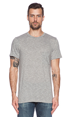 7 For All Mankind Cotton Stripe Crew in Charcoal
