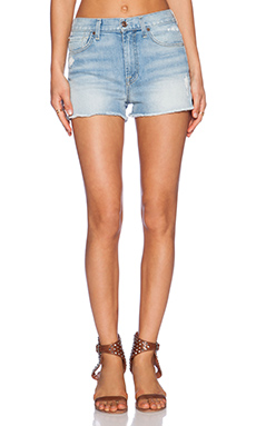 7 For All Mankind High Waisted Raw Hem Short in Light Sky 2
