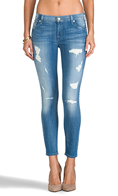 7 For All Mankind The Cropped Skinny in Destroyed Bright Indigo