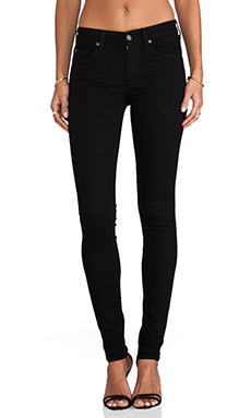 7 For All Mankind Slim Illusion Skinny w/ Squiggle Contour in Elasticity Black