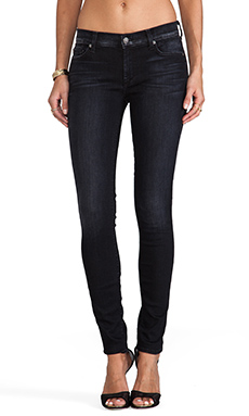 7 For All Mankind The Skinny in Slim Illusion Black w/ Bleach
