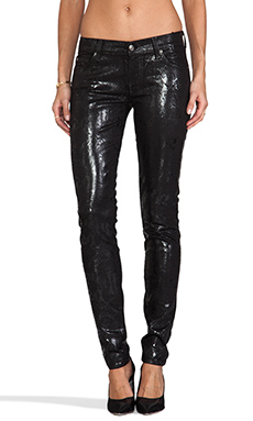 7 For All Mankind The Skinny Cobra High Gloss in Black w/ Black Cobra