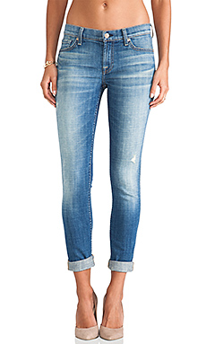 7 For All Mankind Skinny w/ Squiggle in Bright Light Broken Twill