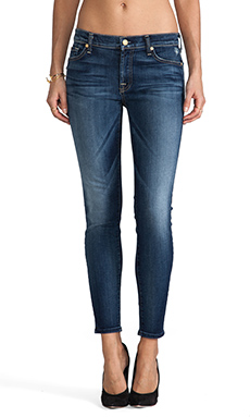 7 For All Mankind Ankle Skinny w/ Squiggle in Super Grinded Blue