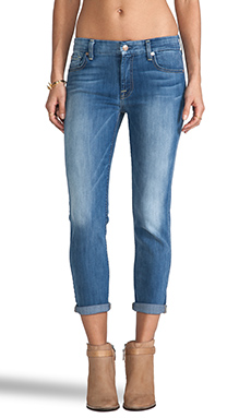 7 For All Mankind Kimmie Crop in Light Cobalt Blue