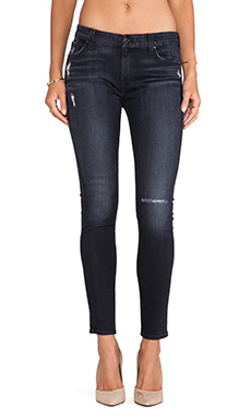 7 For All Mankind Ankle Skinny in Slim Illusion Washed Black