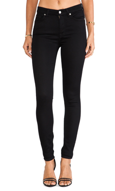 7 For All Mankind Contour Mid Rise Skinny in Black Knit Denim