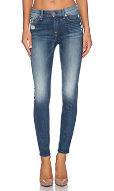 7 For All Mankind The Knee Hole Ankle Skinny in Slim Illusion Aggressive Atlas Blue