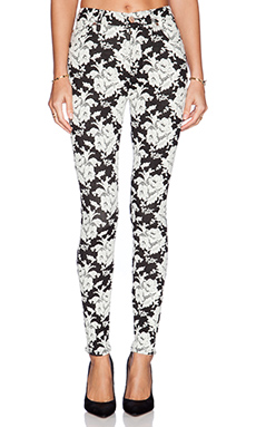 7 For All Mankind The High Waisted Contour Skinny in White Rose Jacquard