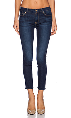 7 For All Mankind Mid Rise Ankle Skinny in Dark Royale Rinse
