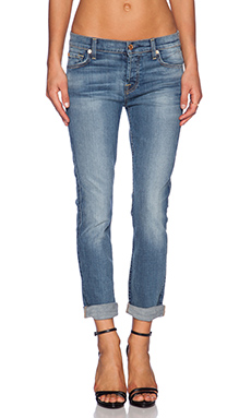 7 For All Mankind Josefina Rolled Hem Boyfriend in Slim Illusion Dusty Vintage Blue