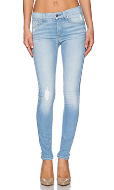 7 For All Mankind Knee Hole Skinny in Light Sky 2