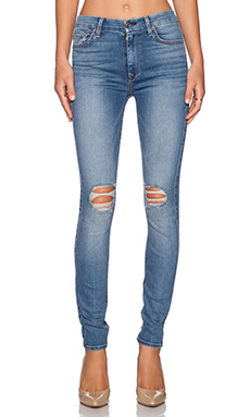 7 For All Mankind High Waist Distressed Skinny in Sloan Heritage Med. Light 2
