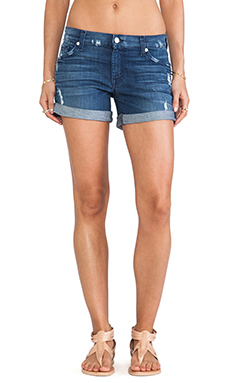 7 For All Mankind Boyfriend Short w/ Destroy in Authentic Medium Blue