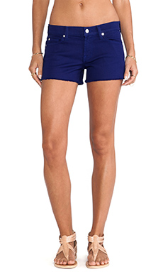 7 For All Mankind Solid Twill Cut Off Short in Cobalt Blue
