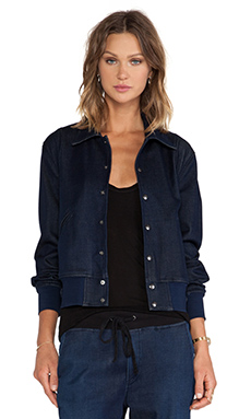 7 For All Mankind Indigo Bomber Jacket in Indigo Rinse